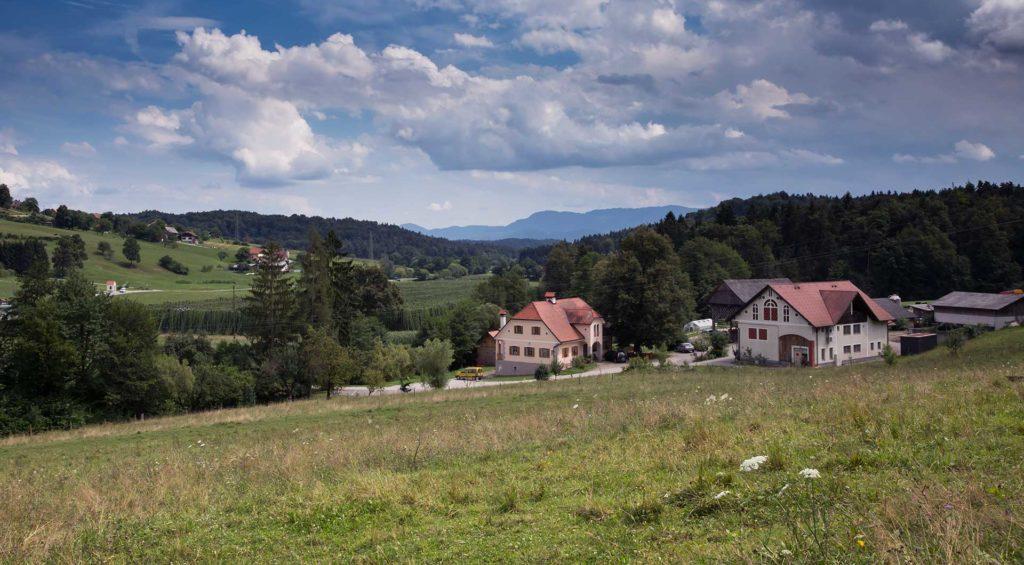 Kmetija Podpečan se nahaja sredi narave